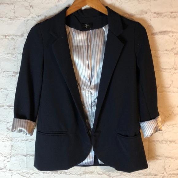 Aqua Jackets & Blazers - AQUA NAVY BLAZER W/FAUX SATIN PINSTRIPED CUFFS